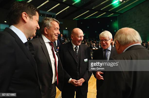 Vice President Christian Seifert former President Wolfgang Niersbach Horst Eckel Vice President Reinhard Rauball and Uwe Seeler chat during the...