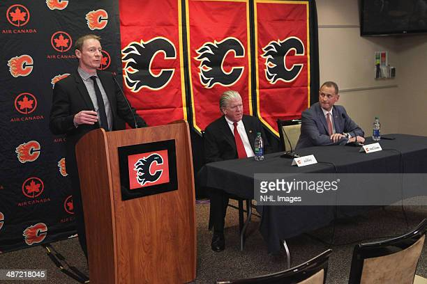 Vice President Communications Peter Hanlon of the Calgary Flames introduces President of Hockey Operations Brian Burke and new General Manager Brad...
