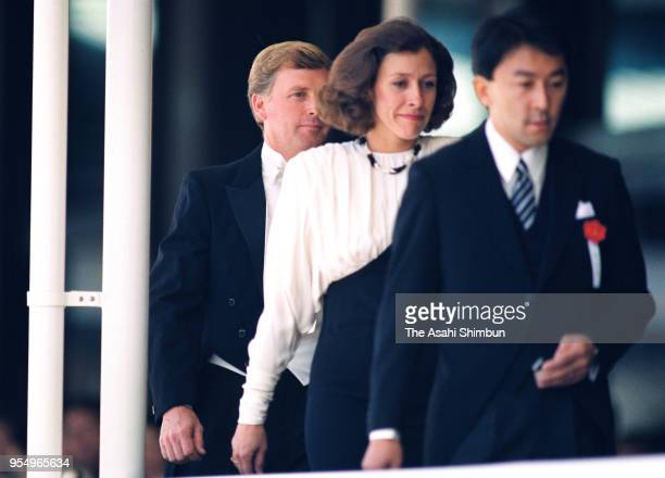 US Vice President Dan Quayle and his wife Marilyn attend the 'SokuinoRei' Emperor's Enthronement Ceremony at the Imperial Palace on November 12 1990...