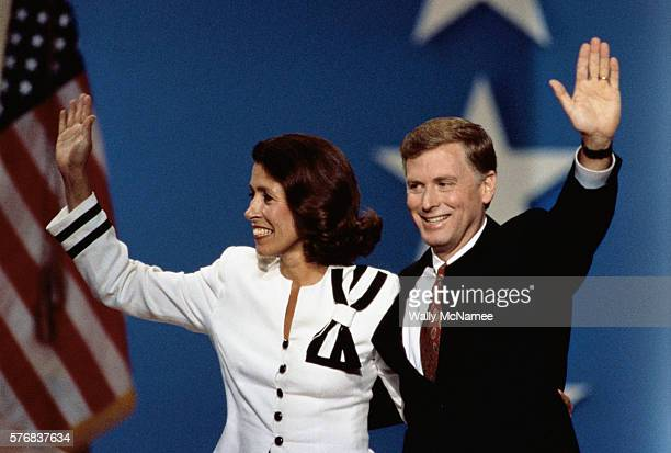 Vice President Dan Quayle and wife Marilyn wave to the crowd during the Republican National Convention in Houston Texas
