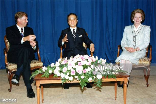 U S Vice President Dan Quayle Japanese Prime Minister Toshiki Kaifu and British Prime Minister Margaret Thatcher talk during the International...