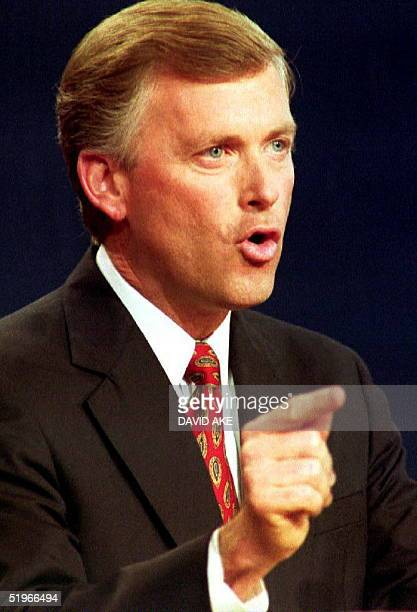 Vice President Dan Quayle makes a point during the vice presidential debate at Georgia Tech 13 October 1992 in Atlanta GA Quayle debated vice...