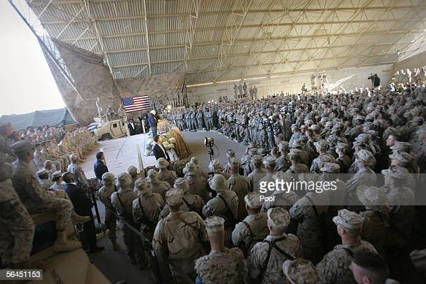Vice President Dick Cheney addresses marines at alAsad Air Base 18 December 2005 Cheney also met with Iraqi leaders and US military commanders to...
