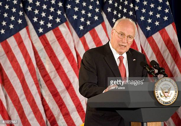S Vice President Dick Cheney addresses workers at the Philadelphia Financial Center May 8 2008 in Philadelphia Pennsylvania One hundred and thirty...