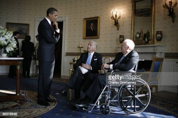 Vice President Dick Cheney and his wife Lynn welcome Barack H Obama and his wife Michelle and Joe and Jill Biden to a coffee morning with...