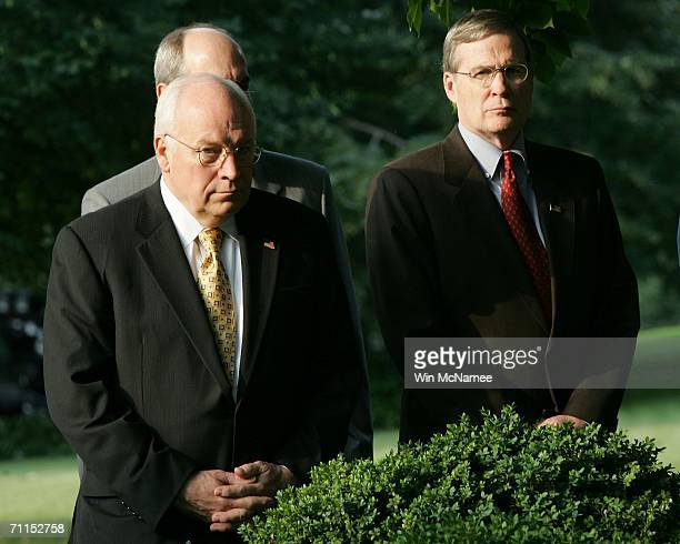 S Vice President Dick Cheney and National Security Advisor Stephen Hadley listen as US President George W Bush speaks in the Rose Garden about the...