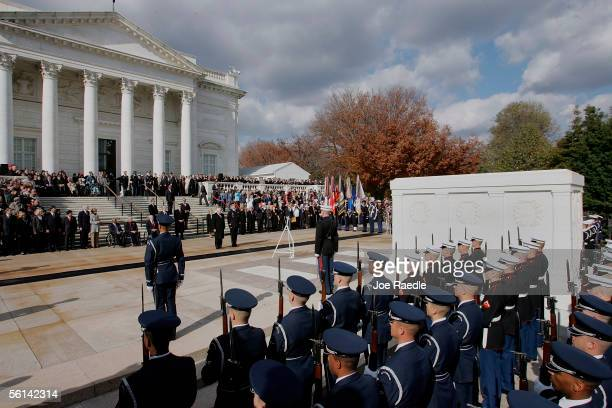S Vice President Dick Cheney and US Army General Guy Swan stand together during a wreath laying ceremony for Veterans Day at the Tomb of the Unknowns...
