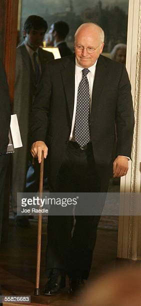 S Vice President Dick Cheney arrives for a ceremony to watch John Roberts being sworn in as the new Chief Justice of the US during a ceremony in the...