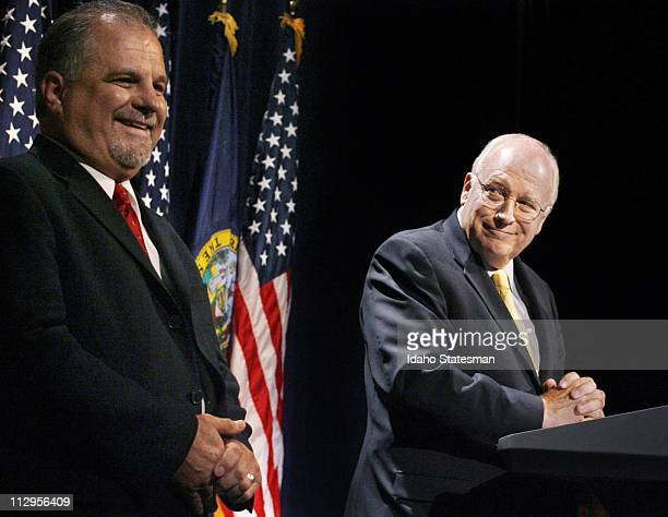Vice President Dick Cheney glances at Bill Sali as the two share the stage at the Boise Centre on The Grove during a fundraiser supporting Sali's run...