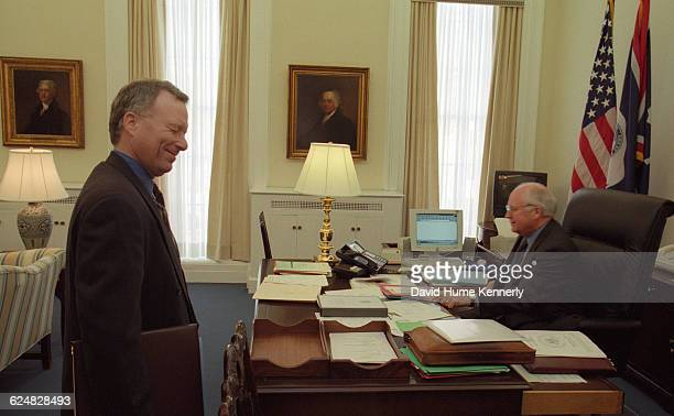 Vice President Dick Cheney in his White House office with his Chief of Staff Lewis 'Scooter' Libby in January 2000 shortly after assuming office