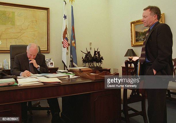 Vice President Dick Cheney in his White House office with his Chief of Staff Lewis 'Scooter' Libby Feb 15 2001 shortly after assuming office