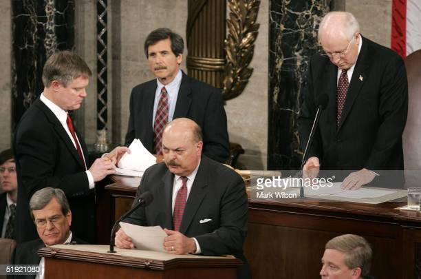Vice President Dick Cheney listens as an objection is being read on the Ohio electoral vote during a joint session of Congress January 6, 2005 in...