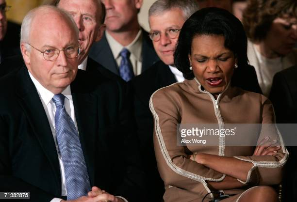 S Vice President Dick Cheney listens to President George W Bush while Secretary of State Condoleezza Rice fights back a yawn before a joint news...