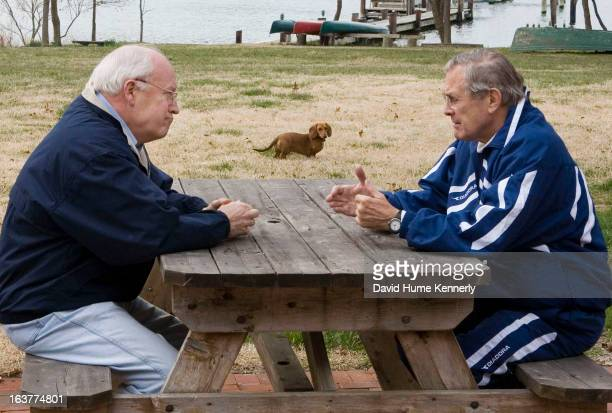 Vice President Dick Cheney photographed from 1975 to 2006 in Washington DC Pictured VP Cheney and Secretary of Defense Donald Rumsfeld have a...