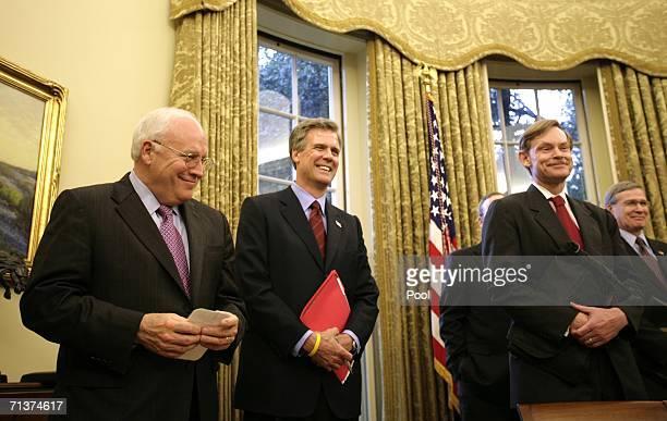 Vice President Dick Cheney, Press Secretary Tony Snow, and Deputy Secretary of State Robert B. Zoellick listen while U.S. President George W. Bush...