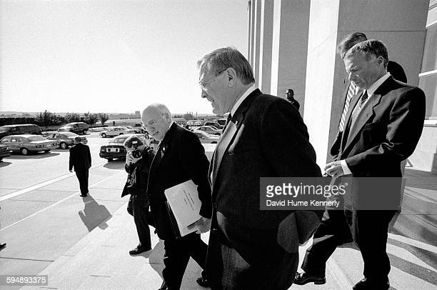 Vice President Dick Cheney Secretary of Defense Donald Rumsfeld and Chief of Staff to the Vice President Scooter Libby leaving the Pentagon on...