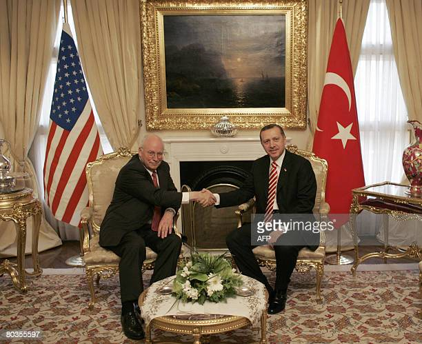 US Vice President Dick Cheney shakes hand with and Turkish Prime Minister Recep Tayyip Erdogan prior to their meeting in Ankara on March 24 2008...