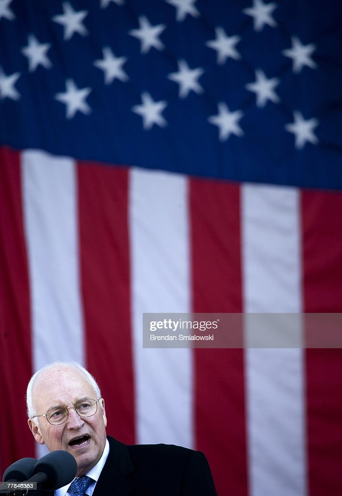 U.S. Vice President Dick Cheney speaks during a Veterans Day event at Arlington National Cemetery November 11, 2007 in Arlington, Virginia. Veterans Day is the anniversary of the Armistice which formally ended World War I and is now celebrated in the United States to honor all veterans for there service.