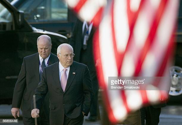 S Vice President Dick Cheney walks from the Eisenhower Executive Office Building to the White House February 15 2006 in Washington DC Cheney was...