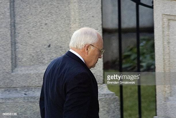 S Vice President Dick Cheney walks from the White House to the Eisenhower Executive Office Building February 15 2006 in Washington DC Cheney was...