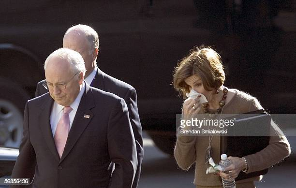 S Vice President Dick Cheney walks with Mary Matalin from the Eisenhower Executive Office Building to the White House February 15 2006 in Washington...