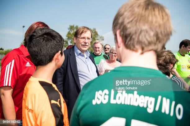 Vice President Dr Rainer Koch talks to members of the soccer club of Loehnberg on April 21 2018 in Weilburg Germany