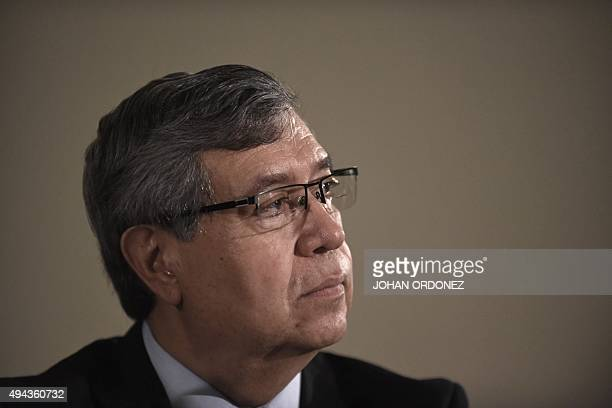 Vice President elect Jafeth Cabrera of the National Front Convergence during a press conference in Guatemala city on October 26 2015 Morales a comic...