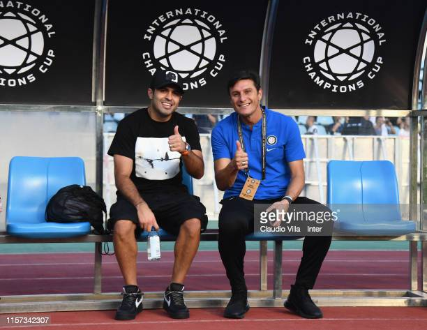 Vice President FC Internazionale Javier Zanetti and Eder pose for a photo during a FC Internazionale training session on July 23, 2019 in Nanjing.