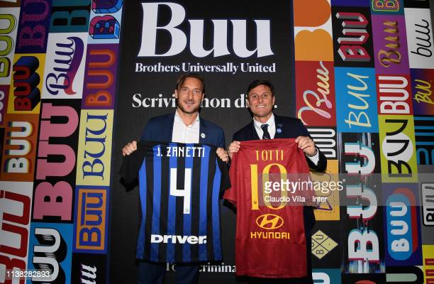 Vice President FC Internazionale Javier Zanetti and Francesco Totti of AS Roma pose for a photo before the Serie A match between FC Internazionale...
