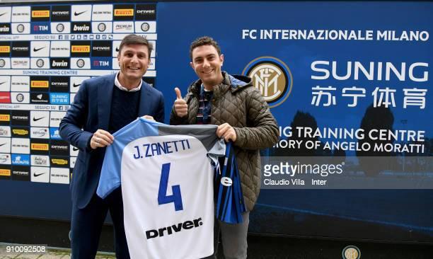 Vice President FC Internazionale Javier Zanetti and Giorgio Tavecchio kicker of Oakland Raiders attend the FC Internazionale training session at...