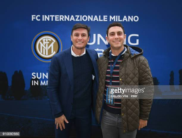 Vice President FC Internazionale Javier Zanetti and Giorgio Tavecchio kicker of Oakland Raiders attend the FC Internazionale training session at...