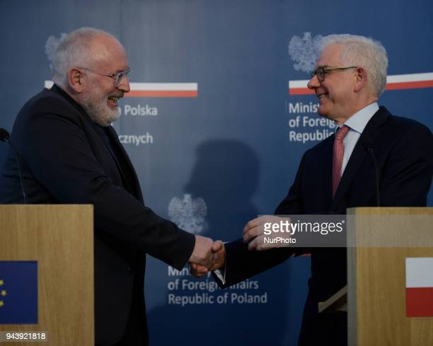 EC Vice President Frans Timmermans and is seen during a joint press conference with Polish Minister of Foreign Affairs Jacek Czaputowicz at the...