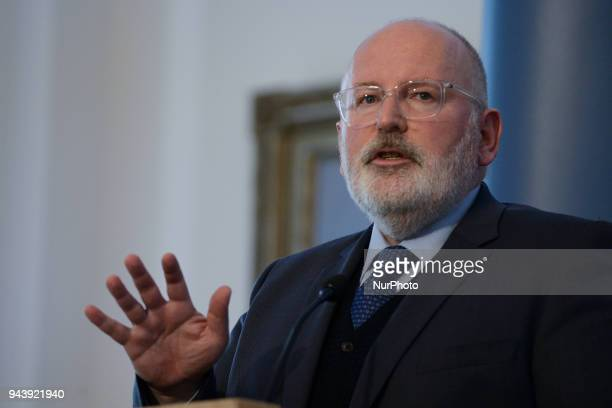 EC Vice President Frans Timmermans during the joint press conference with Polish Minister of Foreign Affairs Jacek Czaputowicz at the Belweder...