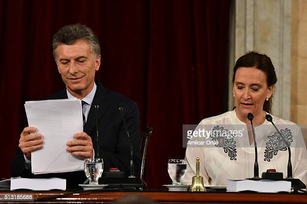 Vice president Gabriel Michetti speaks during the inauguration of the 134th Period of Congress Ordinary Sessions on March 01 2016 in Buenos Aires...