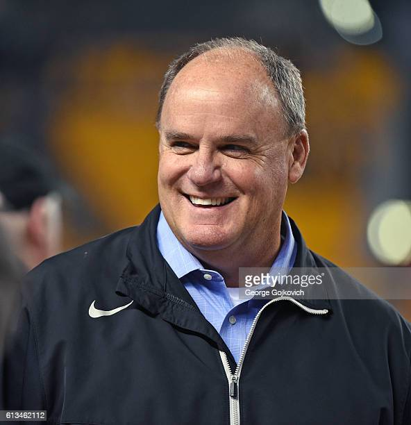 Vice President General Manager Kevin Colbert of the Pittsburgh Steelers smiles as he looks on from the sideline before a game against the Kansas City...
