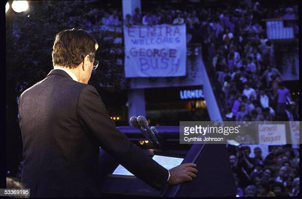 Vice President George Bush addresses crowd during Reagan/Bush rally at Arndt Mall