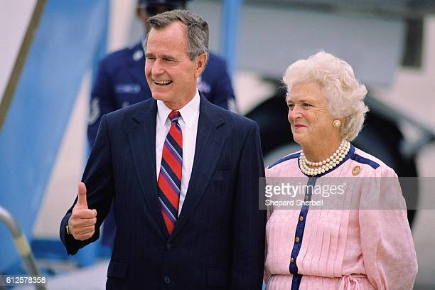 Vice President George Bush and his wife, Barbara, arrive in New Orleans for the 1988 Republican National Convention.