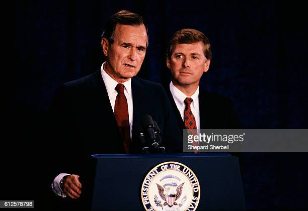 Vice President George Bush and Senator Dan Quayle speak at a press conference during the 1988 Republican National Convention in New Orleans Louisiana