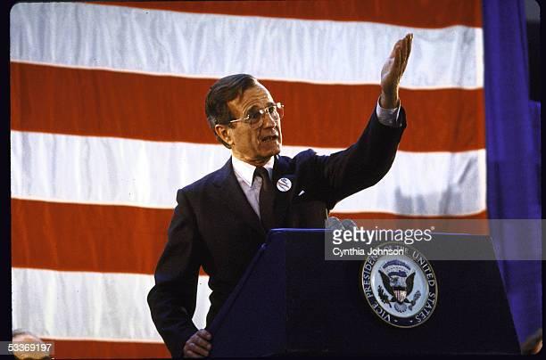 Vice President George Bush speaking during Reagan/Bush rally Arndt Mall
