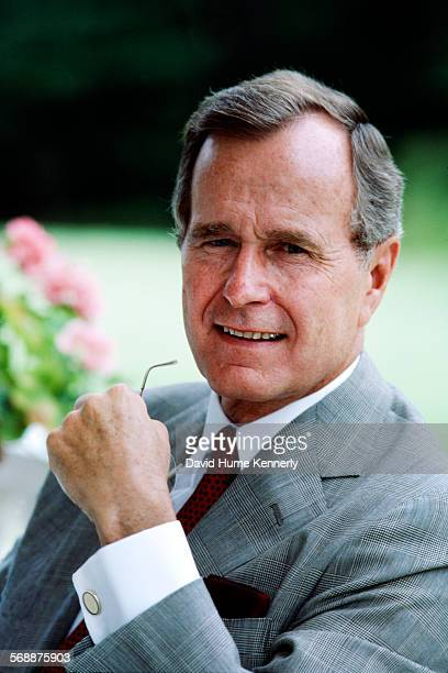 S Vice President George H W Bush on the porch of his residence 1982 in Washington DC