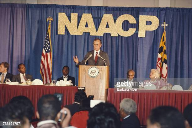 US Vice President George H W Bush spaeking to a conference of the National Association for the Advancement of Colored People in Baltimore Maryland...
