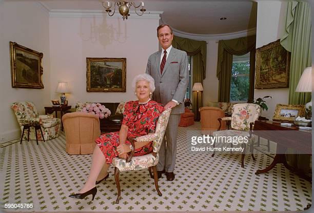 Vice President George H.W. Bush and Mrs. Barbara Bush at the Vice President's residence circa 1983 in in Washington, DC.