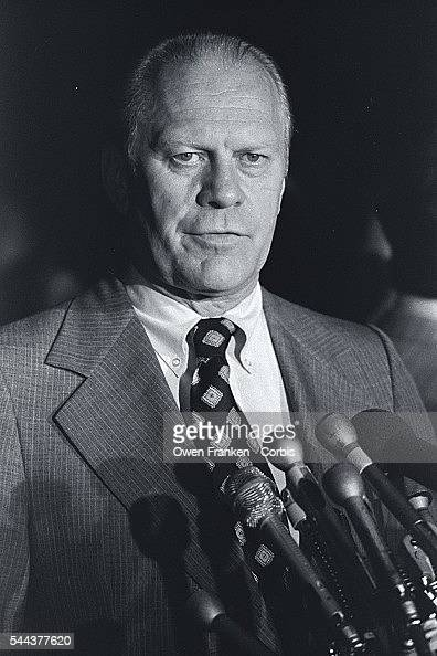 Vice President Gerald Ford gives a statement outside of his home after the announcement that President Richard Nixon would resign office the next...