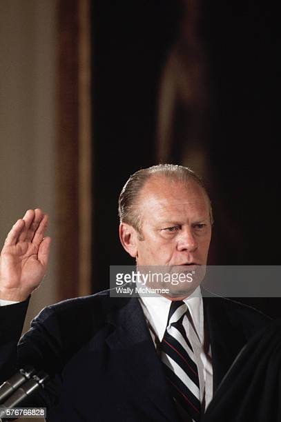 Vice President Gerald Ford is sworn in as President of the United States on the day of Richard Nixon's resignation