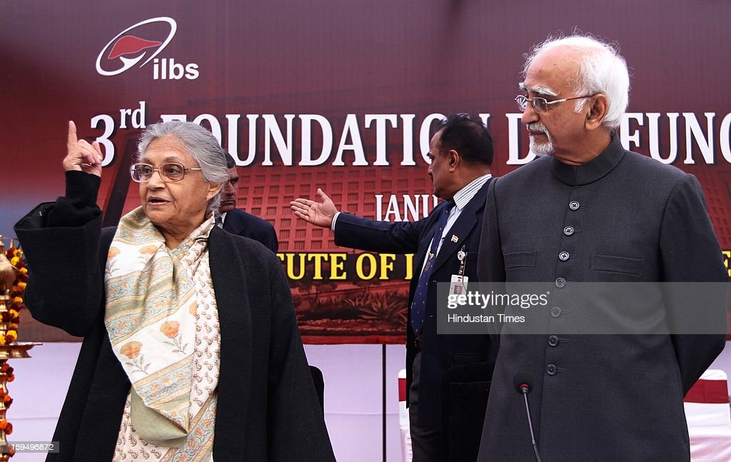 Vice President Hamid Ansari and Delhi Chief Minister Sheila Dikshit during the 3rd Foundation Day of Institute of Liver and Biliary Sciences (ILBS)on January 14, 2013 in New Delhi, India.
