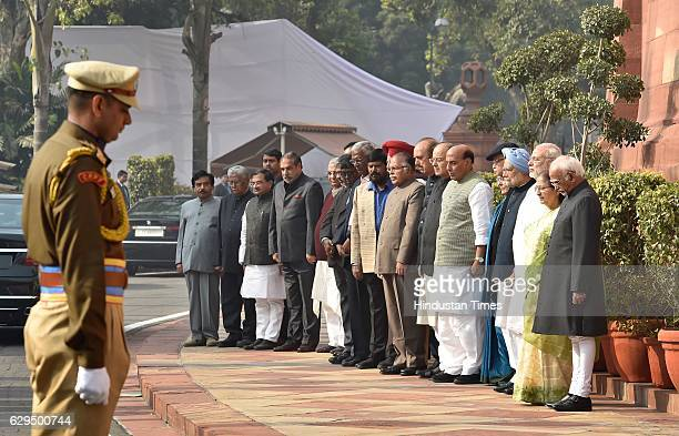 Vice President Hamid Ansari Lok Sabha Speaker Sumitra Mahajan Prime Minister Narendra Modi former Prime Minister Dr Manmohan Singh senior BJP leader...