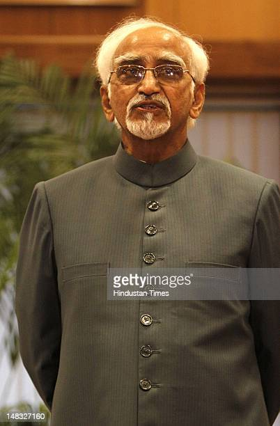Vice President Hamid Ansari speaks with the media after his name was announced as UPA's Vicepresidential candidate on July 14 2012 in New Delhi India...