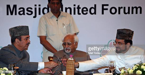 Vice President Hamid Ansari Yahayah Bukhari and Ghulam Nabi Azad at the 2nd International Conference on Terrorism organised by Jama Masjid United...
