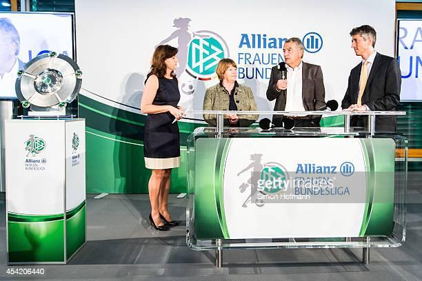 Vice President Hannelore Ratzeburg DFB President Wolfgang Niersbach and Bernd Heinemann of Allianz attend the Allianz Women's Bundesliga Kickoff...