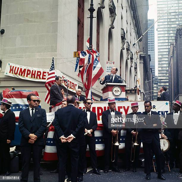 Vice President Hubert Humphrey addresses a huge crowd at 43rd street and Vanderbilt Avenue as he opened a Citizens for Humphrey Headquarters at the...